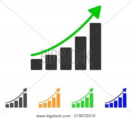 Growing Bar Chart Trend icon. Vector illustration style is a flat iconic growing bar chart trend symbol with grey, green, blue, yellow color variants. Designed for web and software interfaces.