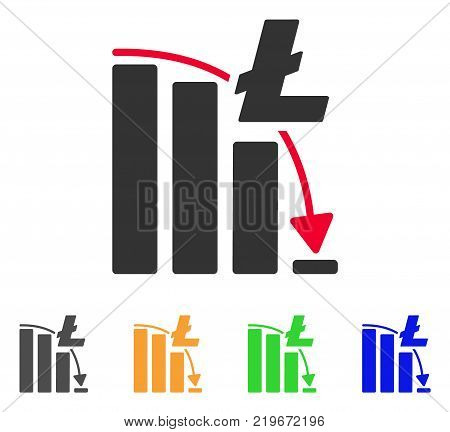 Litecoin Epic Fail Chart icon. Vector illustration style is a flat iconic litecoin epic fail chart symbol with gray, green, blue, yellow color variants. Designed for web and software interfaces.