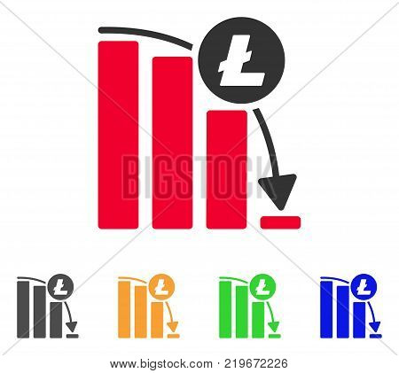 Litecoin Epic Fail Graph icon. Vector illustration style is a flat iconic litecoin epic fail graph symbol with gray, green, blue, yellow color variants. Designed for web and software interfaces.
