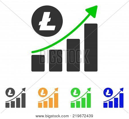 Litecoin Growing Trend icon. Vector illustration style is a flat iconic litecoin growing trend symbol with grey, green, blue, yellow color versions. Designed for web and software interfaces.