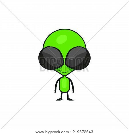 Cute cartoon alien drawing. Little green waving humanoid in spacesuit isolated vector illustration.