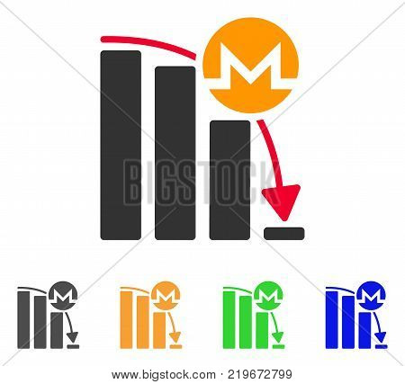 Monero Epic Fail Chart icon. Vector illustration style is a flat iconic monero epic fail chart symbol with gray, green, blue, yellow color variants. Designed for web and software interfaces.