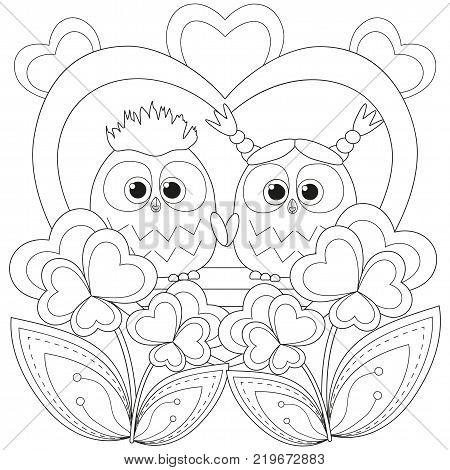 Valentine day black and white poster with an owl couple. Coloring book page for adults and kids. Romantic vector illustration for gift card, flyer, certificate or banner