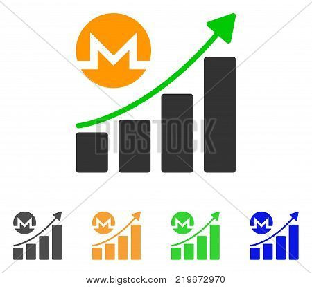 Monero Growing Graph Trend icon. Vector illustration style is a flat iconic monero growing graph trend symbol with grey, green, blue, yellow color versions. Designed for web and software interfaces.