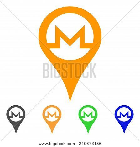 Monero Map Pointer icon. Vector illustration style is a flat iconic monero map pointer symbol with grey, green, blue, yellow color variants. Designed for web and software interfaces.