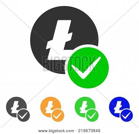 Valid Litecoin icon. Vector illustration style is a flat iconic valid litecoin symbol with gray, green, blue, yellow color variants. Designed for web and software interfaces.