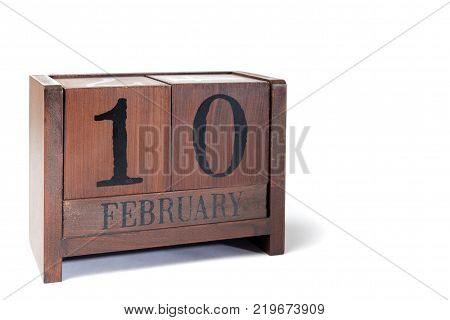 Wooden Perpetual Calendar set to February 10th