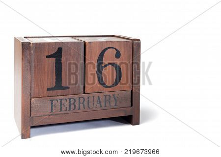 Wooden Perpetual Calendar set to February 16th