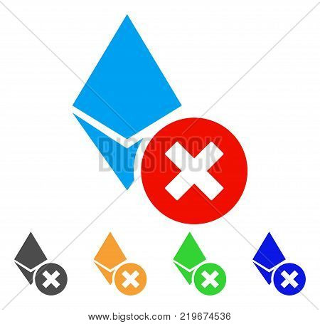 Wrong Ethereum Crystal icon. Vector illustration style is a flat iconic wrong ethereum crystal symbol with gray, green, blue, yellow color variants. Designed for web and software interfaces.