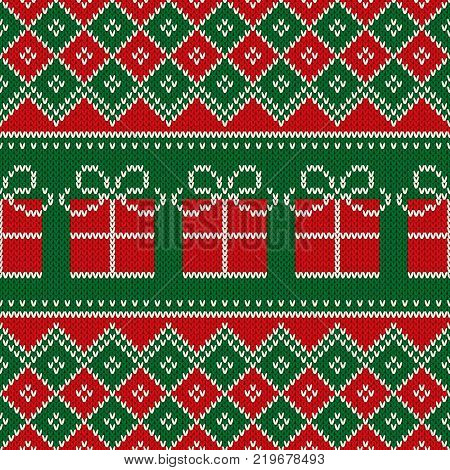 Christmas Holiday Seamless Knitted Pattern with Present Box. Scheme for Knitted Wool Sweater Pattern Design or Cross Stitch Embroidery.