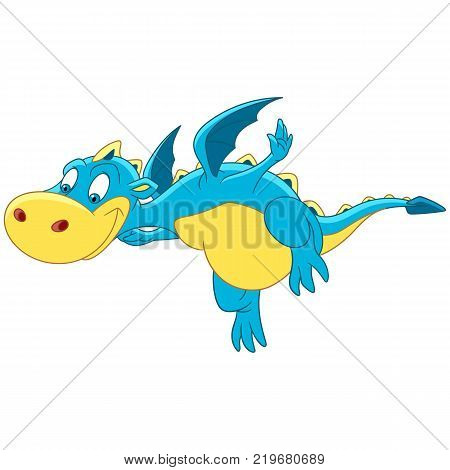 Happy kids creatures. Cartoon flying dragon. Design for children's coloring book.