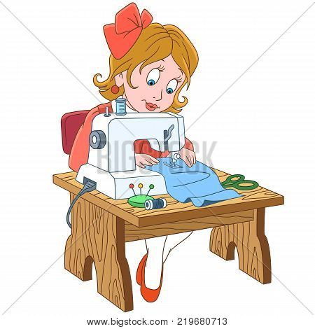 Kids in Professions. Cartoon seamstress (tailor), working on electric sewing machine. Design for children's coloring book.