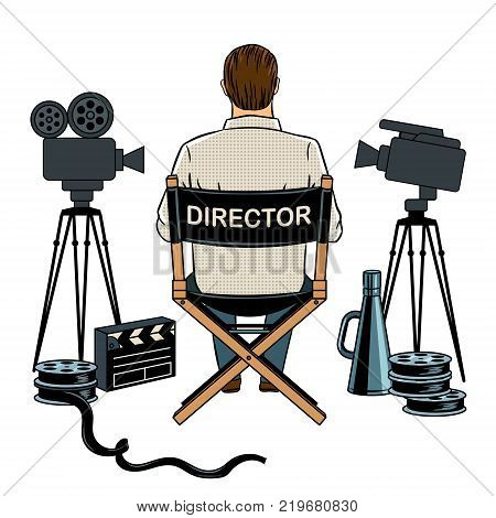 Stage director on set pop art retro vector illustration. Isolated image on white background. Comic book style imitation.