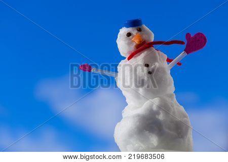 Little Happy Christmas Snowman With Toothpick Outdoor. Winter Season.