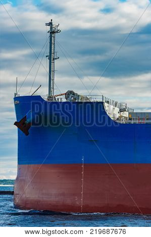 Blue Cargo Ship Underway