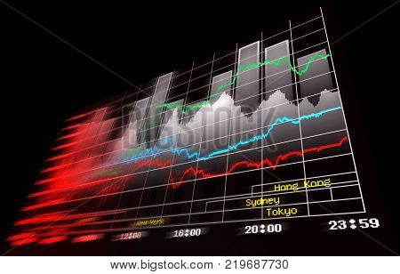 Financial and technical data analysis graphs showing on the computer monitor.