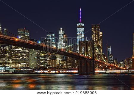 Brooklyn Bridge at night taken from Brooklyn Bridge Park.