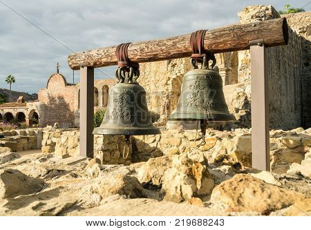 Original cracked bells from the remains of the old church at San Juan Capistrano mission
