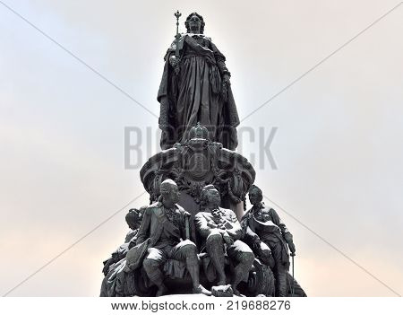 Monument to Catherine II - a monument on Ostrovsky Square in St. Petersburg established in honor of Empress Catherine II in 1873 Russia. Black and white.