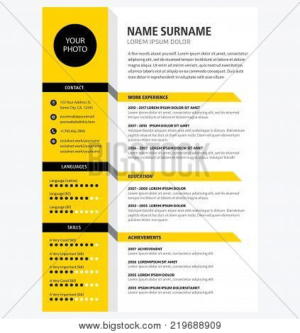 Creative CV / resume template yellow color background minimalist vector