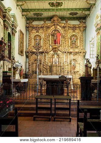 SAN JUAN CAPISTRANO, CALIFORNIA - 1 NOVEMBER 2017: Altar and church interior at San Juan Capistrano in California