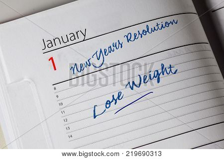 New Years Resolution in the diary, Lose Weight