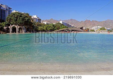 TENERIFE, CANARY ISLANDS, SPAIN - DECEMBER 7, 2017: Beautiful view of Plaza de España, Santa Cruz de Tenerife, Canary Islands. SPAIN.