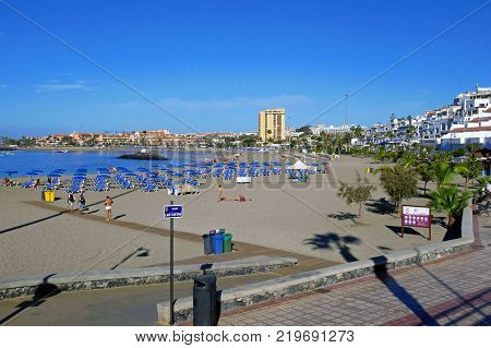 TENERIFE, CANARY ISLANDS, SPAIN - DECEMBER 7, 2017: Beautiful view of Las Vistas Beach in Tenerife, Canary Islands. SPAIN.