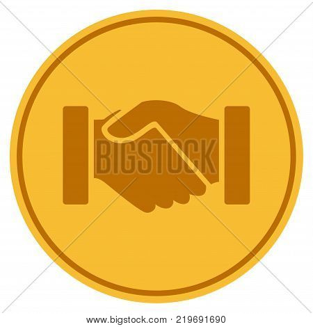 Acquisition Handshake golden coin icon. Vector style is a gold yellow flat coin symbol.