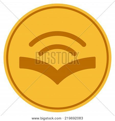 Audiobook golden coin icon. Vector style is a gold yellow flat coin symbol.