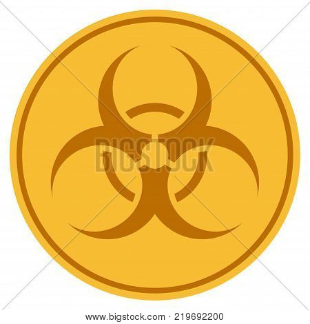 Biohazard golden coin icon. Vector style is a gold yellow flat coin symbol.