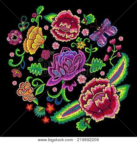 Embroidery trend round pattern with colorful simplify flowers. Vector embroidered floral patch for clothing design.