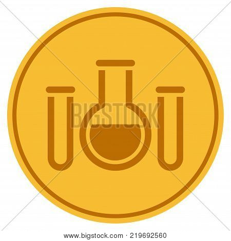 Chemistry golden coin icon. Vector style is a gold yellow flat coin symbol.