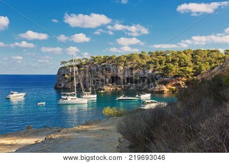 Beautiful seascape bay with yachts and boats.Mallorca island, Spain Mediterranean Sea, Balearic Islands.