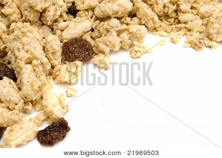 pile of musli cereals isolated on white background poster