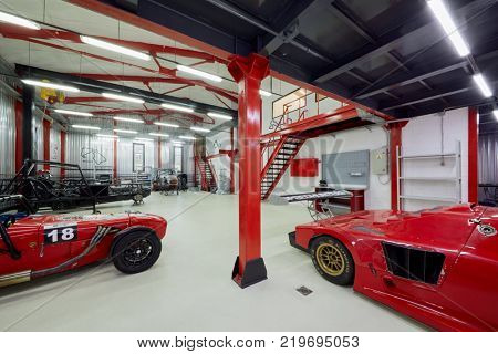 MOSCOW, RUSSIA - OCT 27, 2017: (PR) Racing cars based on Lotus Seven in garage of DB 527 company producer of russian sports cars.