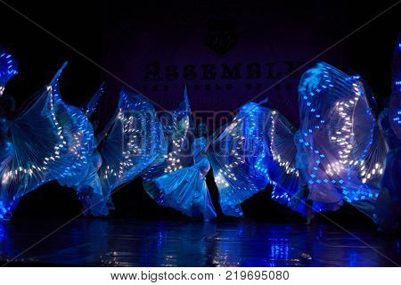 MOSCOW, RUSSIA - OCT 21, 2017: Bellydancers on stage of Luna Theatre during Gala Concert after 12th international festival of oriental dance ASSEMBLY 2017.