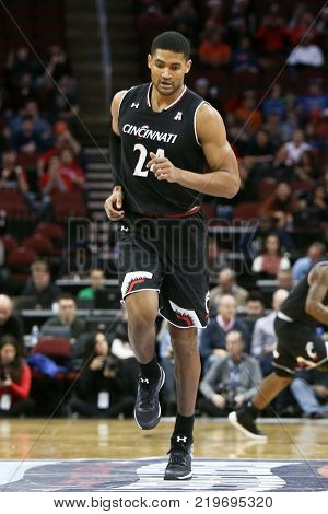 NEWARK, NJ - DEC 9: Cincinnati Bearcats forward  Kyle Washington (24) during the game against the Florida Gators on December 9, 2017 at the Prudential Center on  Newark, New Jersey.