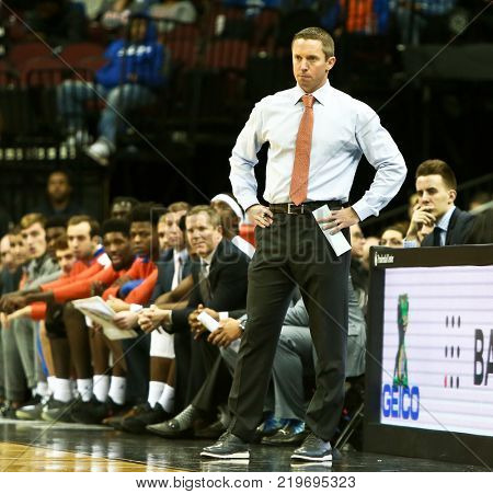 NEWARK, NJ - DEC 9: Florida Gators head coach Mike White on the sidelines during the game against the Cincinnati Bearcats on December 9, 2017 at the Prudential Center on  Newark, New Jersey.