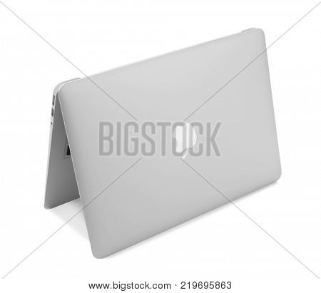 KYIV, UKRAINE - NOVEMBER 13, 2017: Apple MacBook Air Silver on white background,  designed and developed by Apple Inc