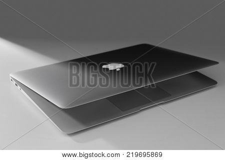 KYIV, UKRAINE - NOVEMBER 13, 2017: Apple MacBook Air Silver on light background,  designed and developed by Apple Inc