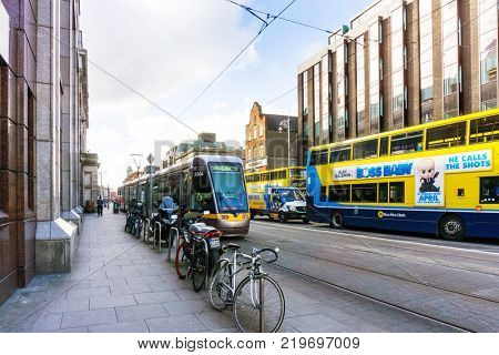 DUBLIN, IRELAND - March 31, 2017: Street view of Dublin city centre