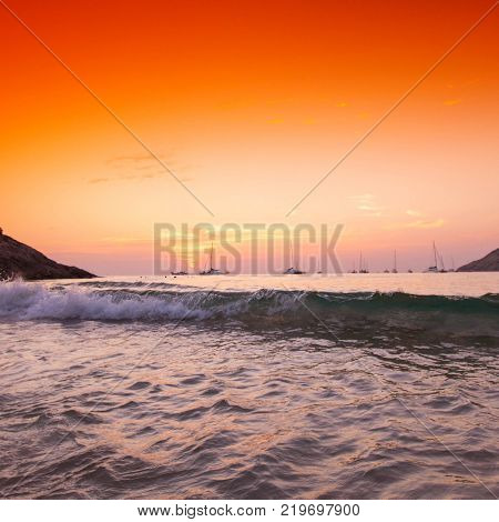 Sunset with dramatic sky ,clouds over mountain and andaman sea at Thailand