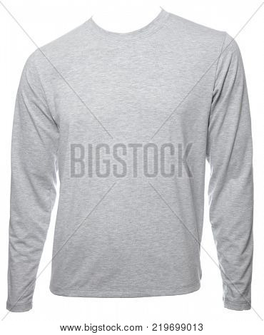 Grey heathered  plain long sleeved cotton T-Shirt template isolated on a white background