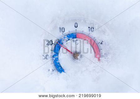 Frozen thermometer with celsius scale showing sub-zero temperature minus eighteen degree a cold winter weather concept