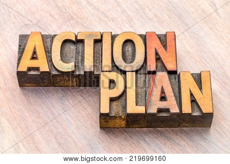 action plan word abstract in vintage lettepress wood type