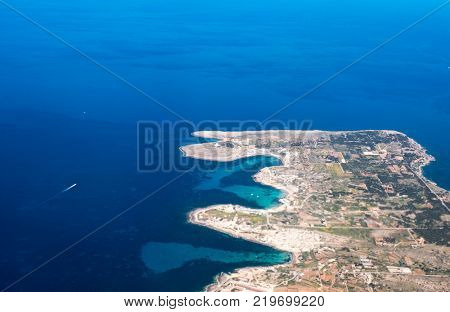 Aerial view of Comino with Blue lagoon . Gozo Malta