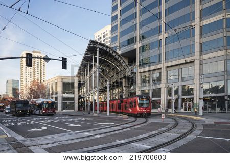 San Diego,CA,USA - 12 18 2017: e UC San Diego Blue Line is a 15.4-mile (24.8 km) light rail line in the San Diego Trolley system, operated by San Diego Trolley, Inc
