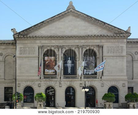 Chicago - August 22, 2015: The Art Institute of Chicago. Founded in 1879 in Chicago's Grant Park, it is one of the oldest and largest art museums in the United States.
