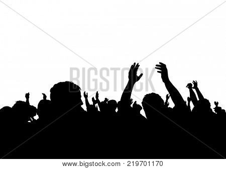 Crowd of spectators at a concert on a white background